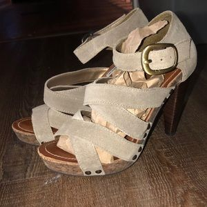 Steve Madden taupe suede strap heels size 7